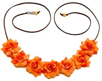 Orange Rose Flower Crown, Flower Headband, Hippie Headband, Festival Headband, Halloween Headband, Bohemian Headband, Autumn Headband
