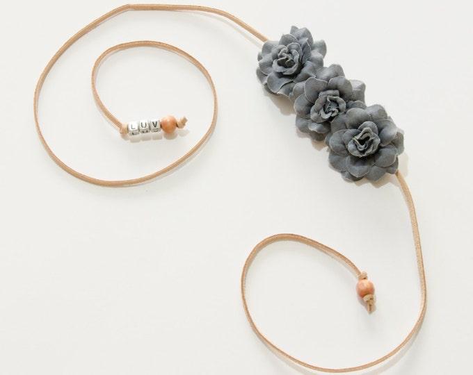 Gray Rose Side Flower Crown