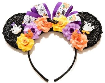 Halloween Mouse Ears, Mickey Ears, Minnie Ears, Floral Mickey Ears, Halloween Mickey Ears, Flower Minnie Ears, Halloween Costume