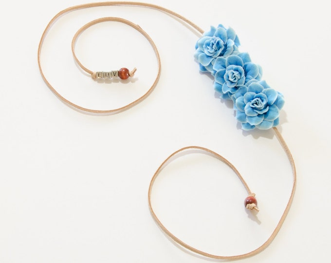 Sky Blue Rose Side Flower Crown