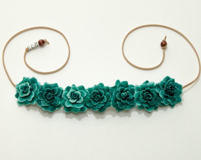 Sea Green Rose Flower Crown