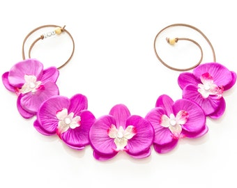 Orchid Flower Crown, Flower Headband, Tropical Flower Crown, Tropical Hair Flower, Beach Headband, Summer Headband, Mermaid Headband