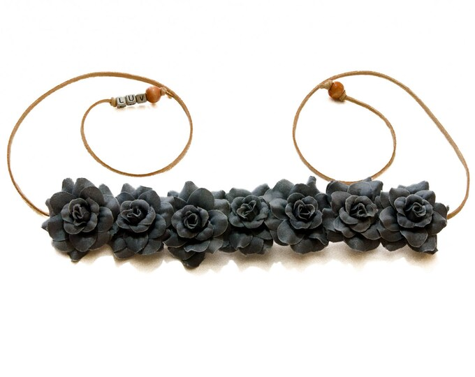 Gray Rose Flower Crown