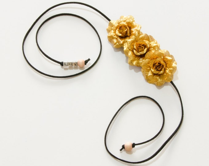 Gold Rose Side Flower Crown