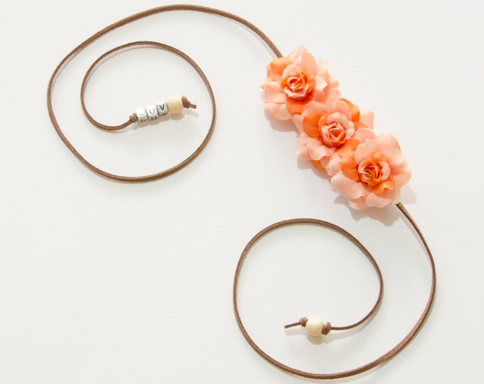 Orange Rose Side Flower Crown