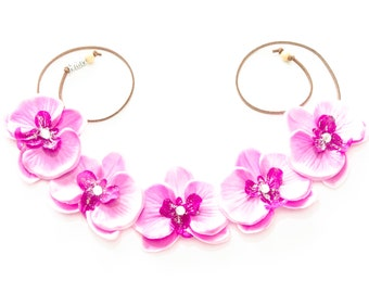 Pink Orchid Flower Crown, Flower Headband, Tropical Flower Crown, Tropical Hair Flower, Beach Headband, Summer Headband, Mermaid Headband