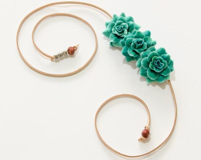 Sea Green Rose Side Flower Crown