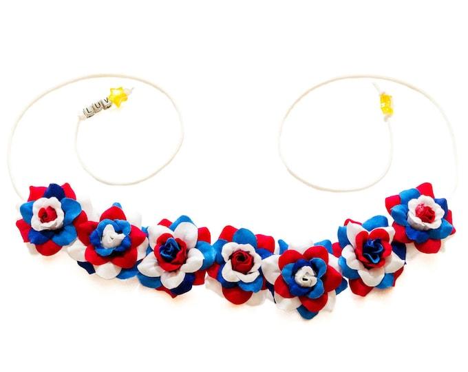 Patriotic Rose Flower Crown