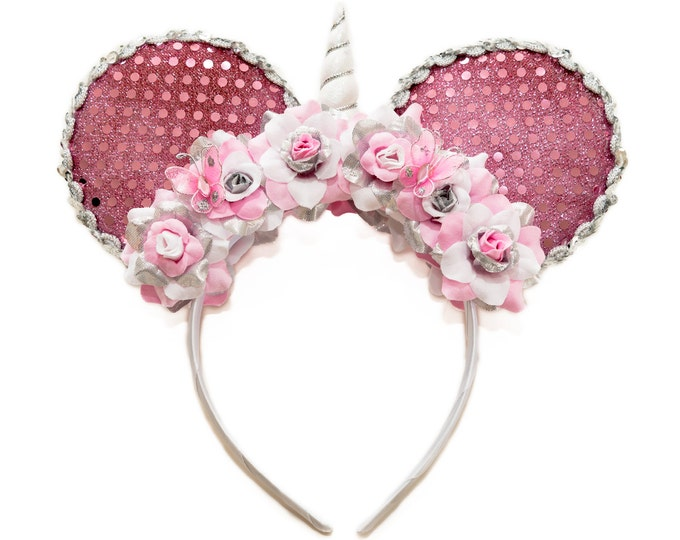 Pink White Silver Unicorn Mouse Ears