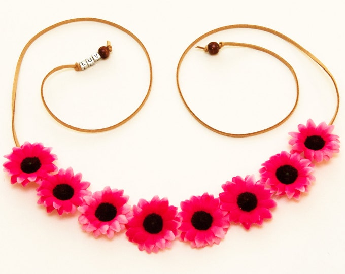 Hot Pink Daisy Flower Crown