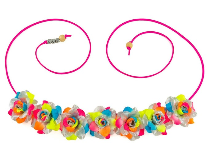 Silver Neon Rainbow Rose Flower Crown