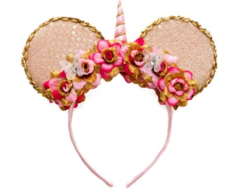 Pink Gold Unicorn Mouse Ears, Mickey Ears, Minnie Ears, Unicorn Headband, Flower Headband, Disneybound, Birthday Mickey Ears