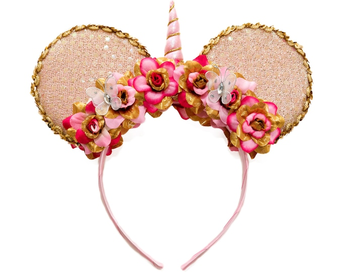 Pink Gold Unicorn Mouse Ears