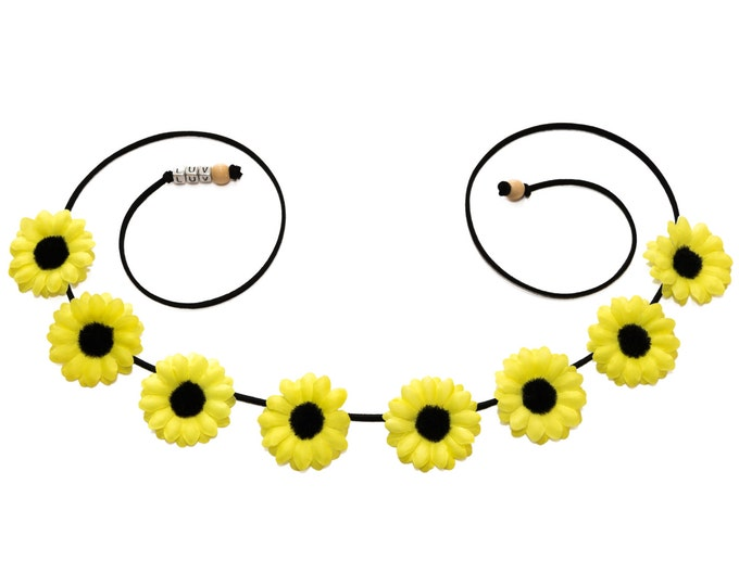 Neon Yellow Daisy Flower Crown