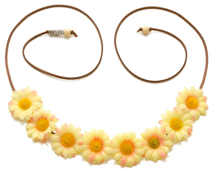 Yellow Pink Daisy Flower Crown