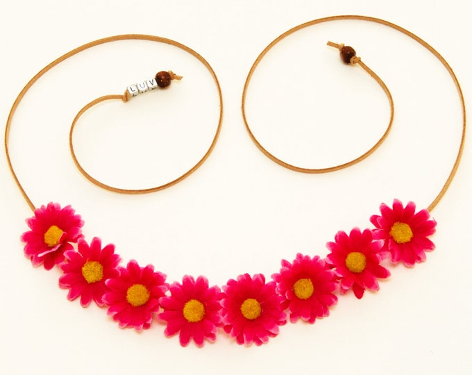 Fuchsia Daisy Flower Crown
