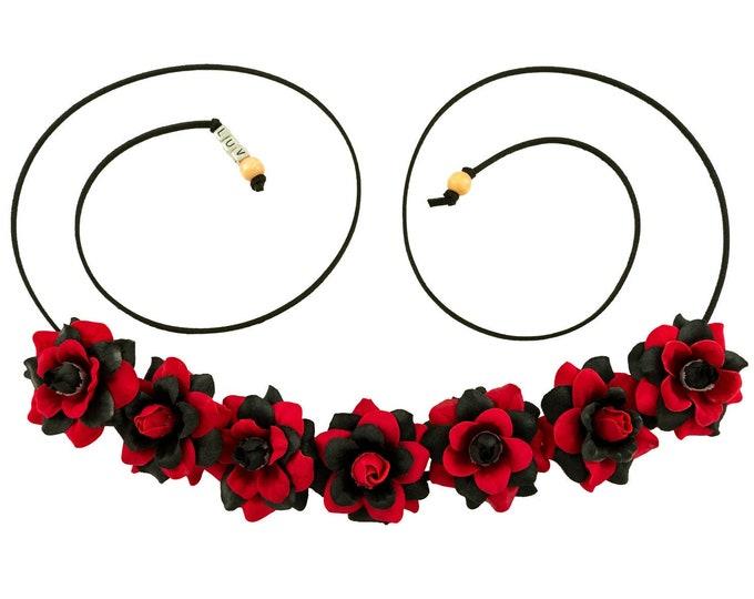 Red Black Rose Flower Crown