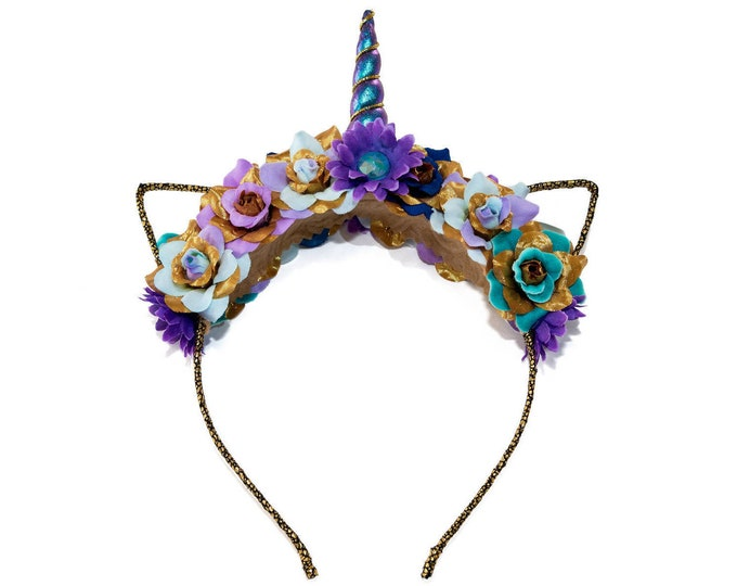 Blue Purple Gold Mewnicorn Cat Ears