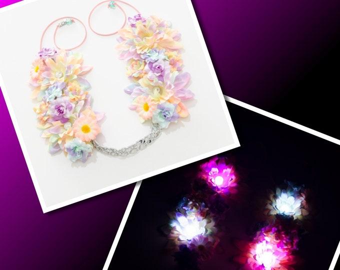 Pastel Rainbow LED Flower Crown