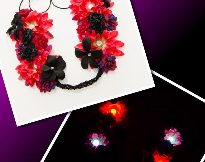 Red Black LED Flower Crown