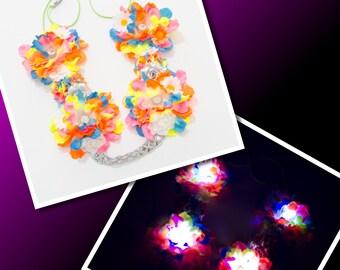 Neon Rainbow LED Flower Crown, LED Headband, Flower Headband, Rave Headband, Festival Headband, Rave Wear, Rave Outfit, LED Clothing