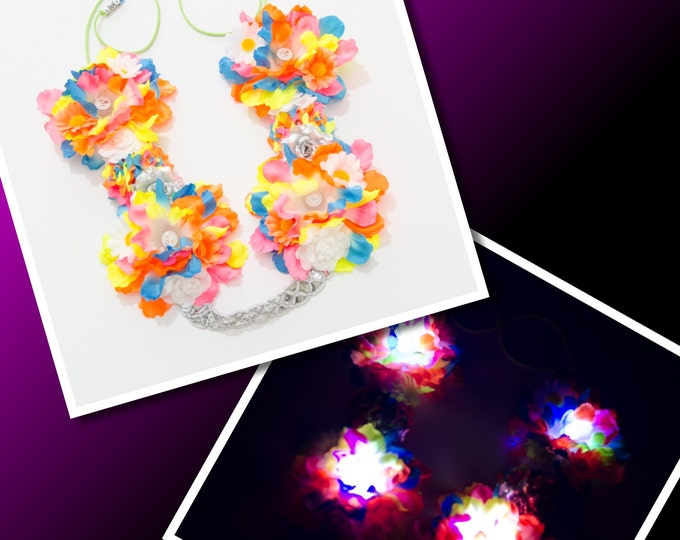 Neon Rainbow LED Flower Crown