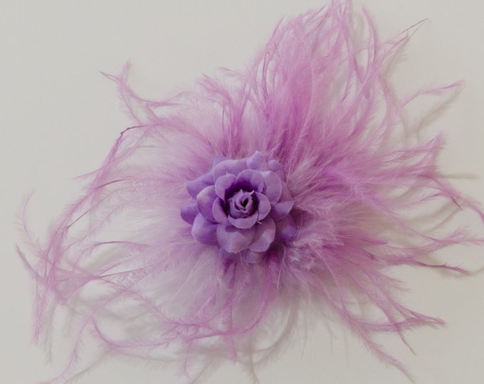 Purple Feather Flower Clip