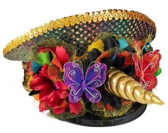Rainbow Unicorn Captains Hat, Festival Captains Hat, Rave Captains Hat, Festival Hat, Rave Hat, Costume Hat, Womens Hat, Mens Hat