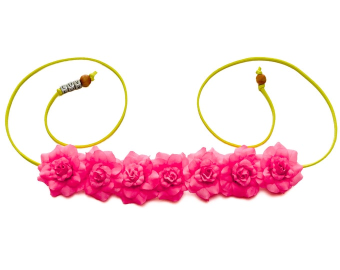 Neon Pink Rose Flower Crown