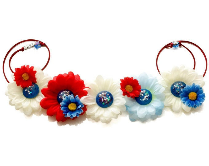 Patriotic Daisy Flower Crown