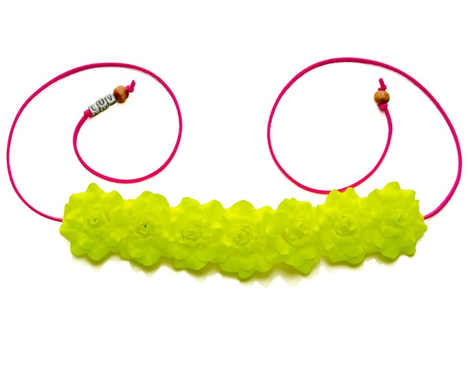 Neon Yellow Rose Flower Crown