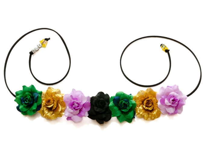 Mardi Gras Rose Flower Crown