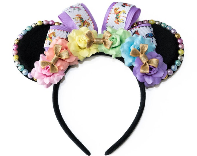 Carousel Jolly Holiday Mouse Ears Headband