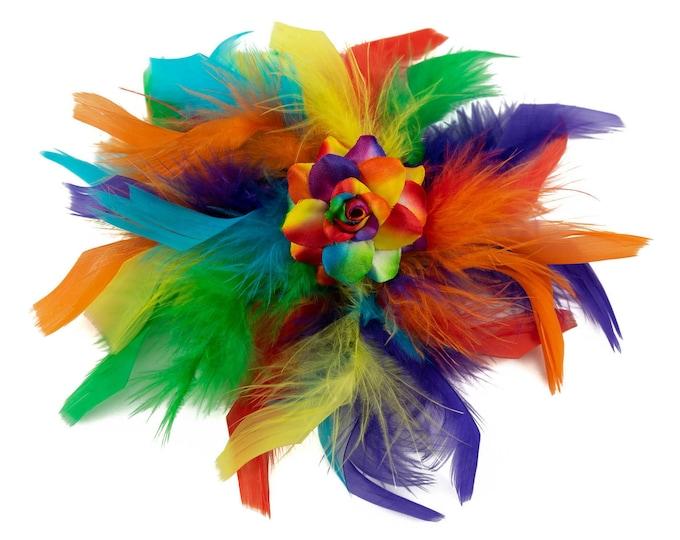 Rainbow Feather Flower Clip