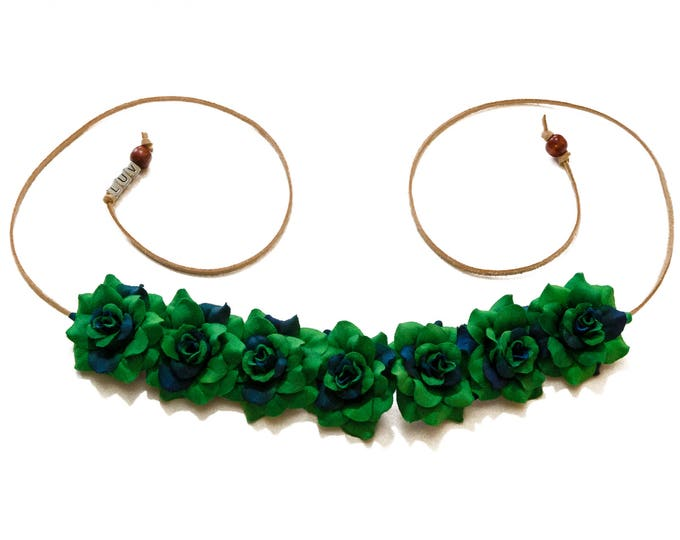 Dark Green Rose Flower Crown