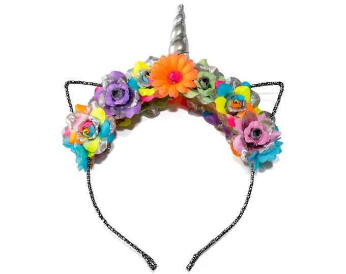 Neon Rainbow Mewnicorn Cat Ear Headband