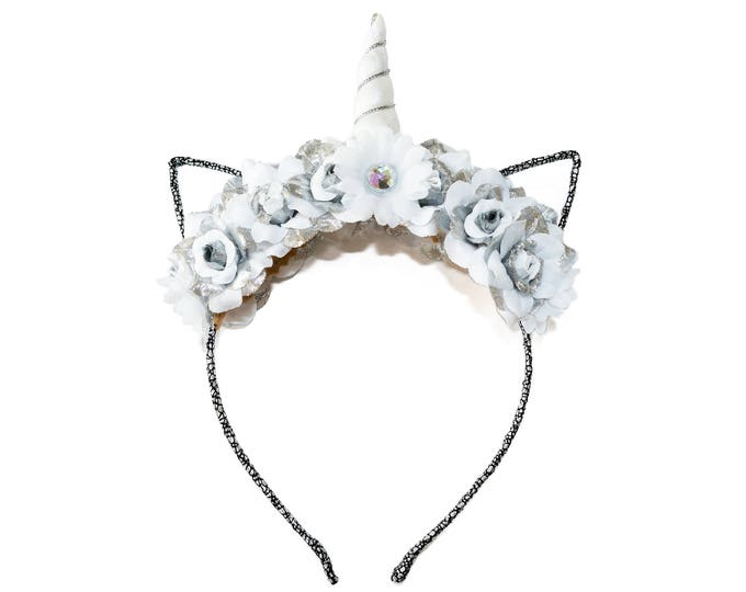 White Silver Mewnicorn Cat Ear Headband
