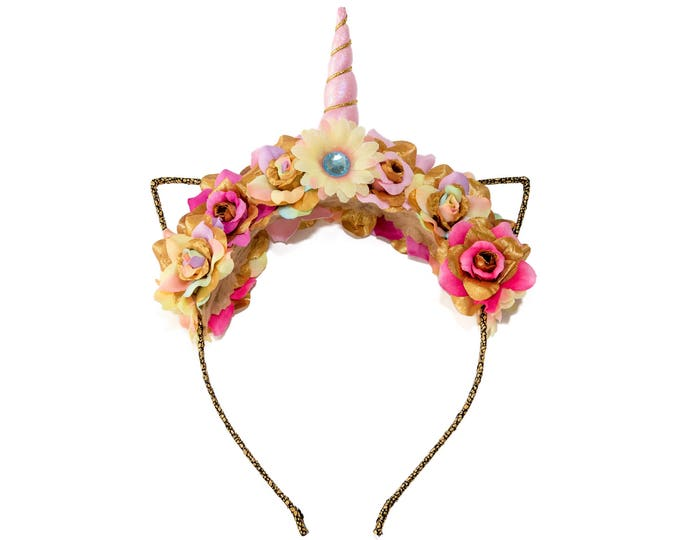 Pink Pastel Rainbow Mewnicorn Cat Ear Headband