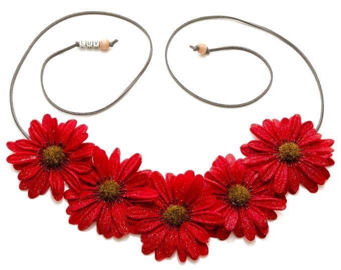 Autumn Red Daisy Flower Crown