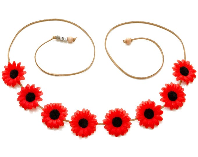 Red Black Daisy Flower Crown