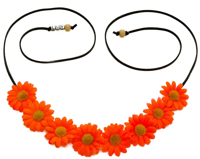 Neon Orange Daisy Flower Crown