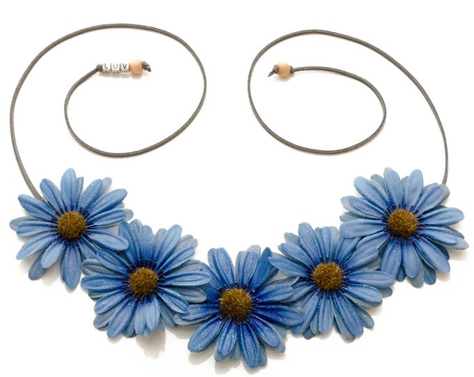 Autumn Blue Daisy Flower Crown