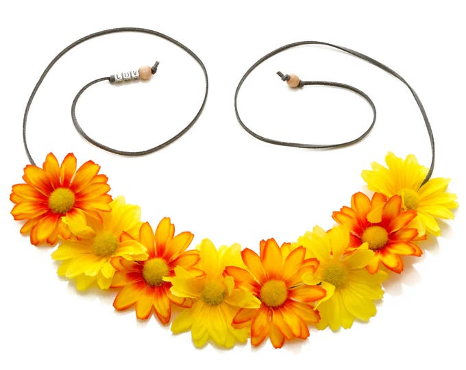 Yellow Orange Daisy Flower Crown
