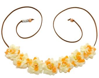 Cream Yellow Rose Flower Crown, Flower Headband, Festival Headband, Hippie Headband, Summer Headband, Bohemian Headband, BoHo Headband