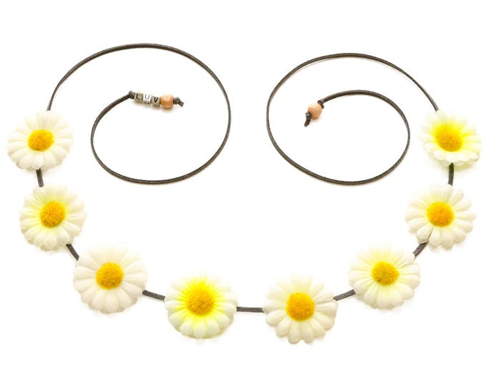 White Yellow Daisy Flower Crown