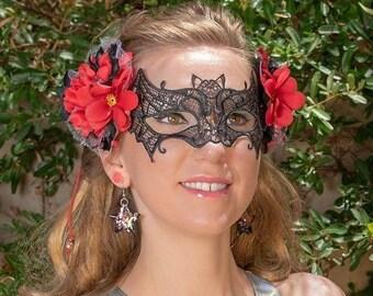 Black Bat Mask, Bat Costume, Flower Crown Mask, Masquerade Mask, Mardi Gras Mask, Halloween Mask, Rave Mask, Festival Mask, Flower Headpiece