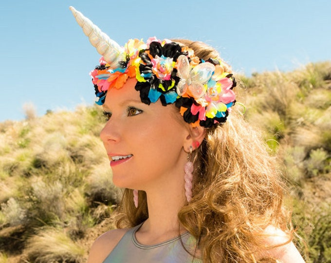 Black Neon Rainbow Unicorn Flower Crown