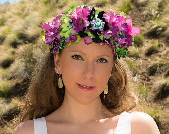Purple Green Mermaid Flower Crown