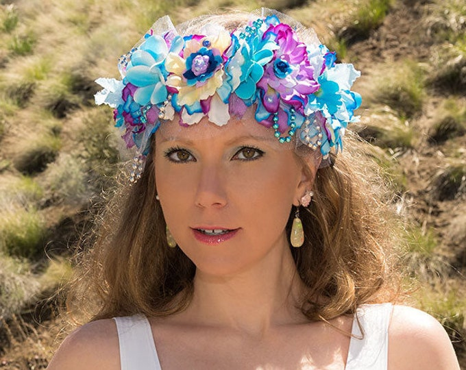 Blue Mermaid Flower Crown