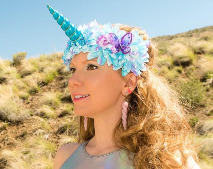 Blue Purple Unicorn Flower Crown